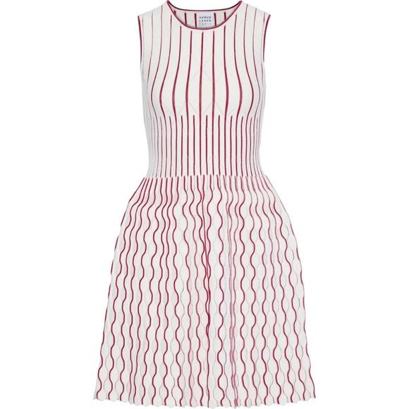 HERVÉ LÉGER Metallic stretch-knit mini dress